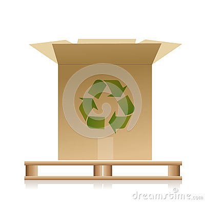 Wooden pallet with a recycle box illustration