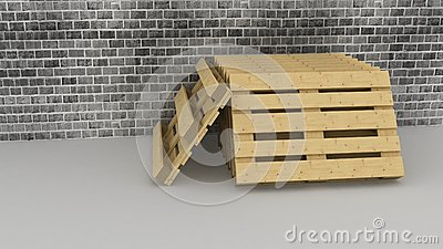 Wooden  pallets on brick wall background