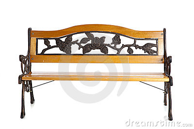 Wooden park bench on white
