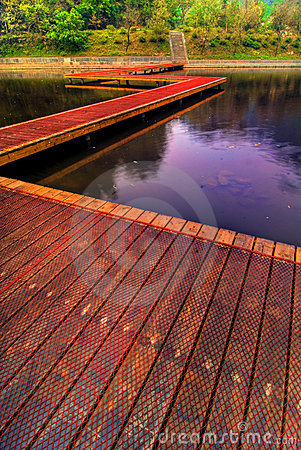 Wooden path on lake