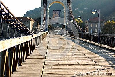 The wooden pedestrian bridge