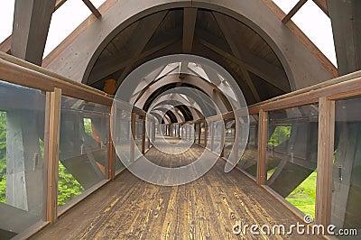 Wooden pedestrian tunnel