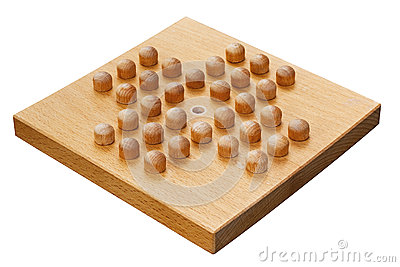 Wooden peg solitaire board or brainvita
