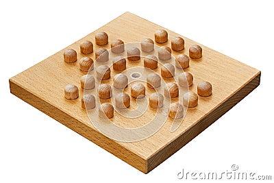 Wooden peg solitaire board or brainvita