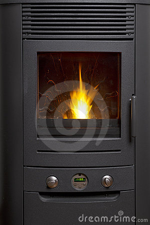 Free Wooden Pellet Heater Flame Stock Photo - 18497680