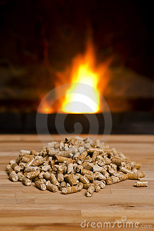 Wooden pellets in front of Biomass Heater