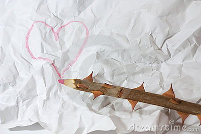Wooden pencil with heart