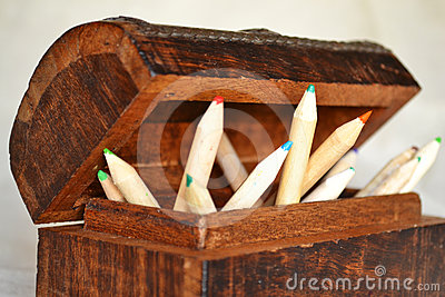 Wooden Pencils in a Chest