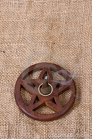 Wooden Pentacle On Hessian