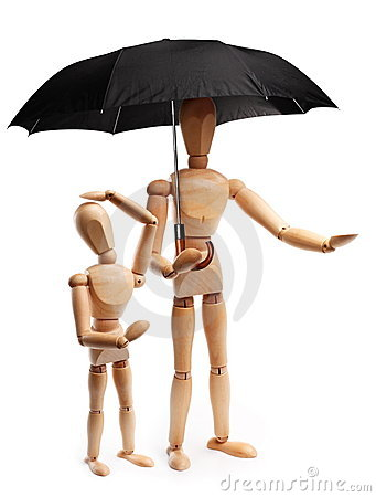 Wooden people under an umbrella