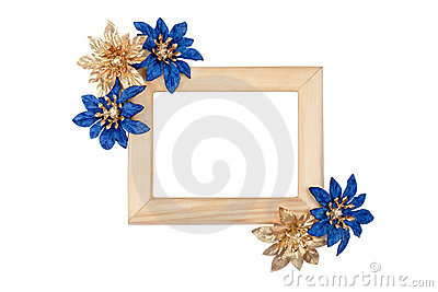 Wooden photo frame with blue and golden flowers