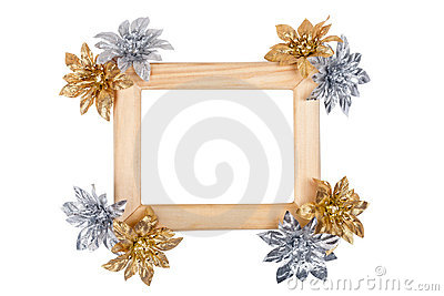 Wooden photo frame with golden and silver flowers