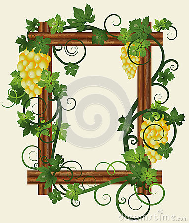 Wooden photo frame with grapes