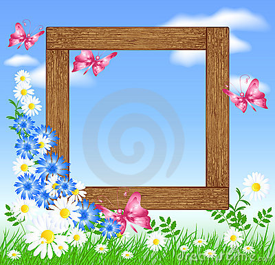 Wooden photo frames with flowers and butterfly