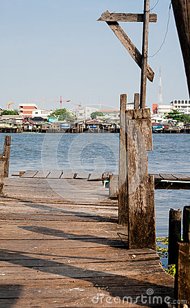Wooden pier along the Chao Phraya River