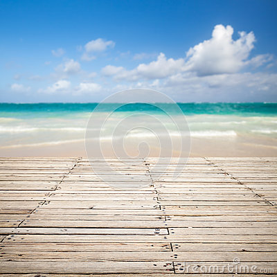 Free Wooden Pier And Blurred Sea Landscape On A Background Stock Image - 50671391
