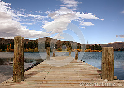 Wooden Pier on Lake Dunstan Canterbury New Zealand