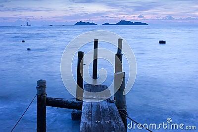 Wooden Pier and Ocean view in Long Exposure