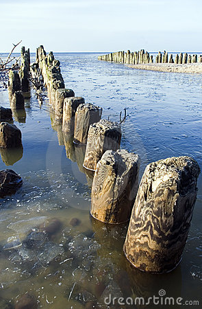 Wooden pier with poles