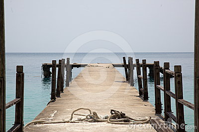 Wooden pier and sea