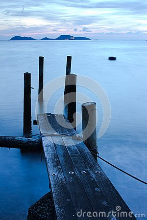 Wooden Pier and Sea in Long Exposure