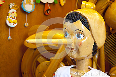 Wooden Pinocchio doll with nose
