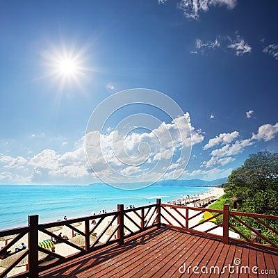 Wooden platform beside beach
