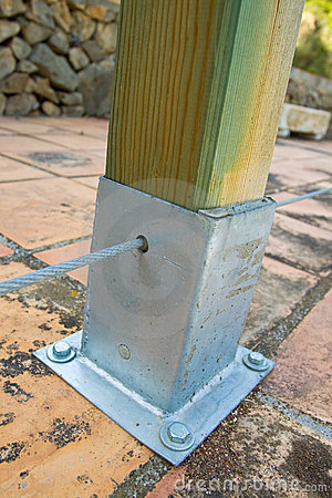 Wooden Post with Metal Support