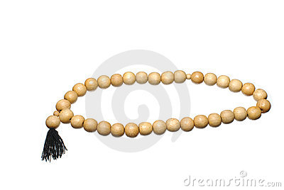 Wooden prayer beads isolated
