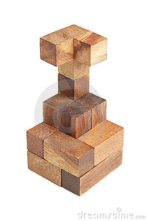 Free Wooden Puzzle Tower Isolated Stock Image - 20291521
