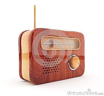 Wooden radio 3D. Retro style. On white background