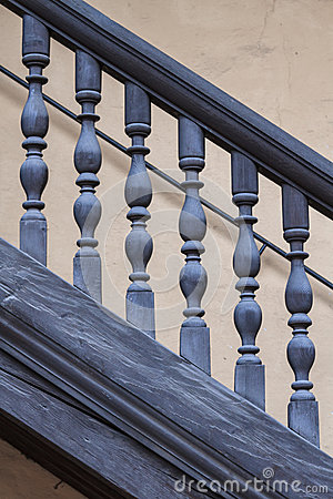 Wooden Railing of an antique staircase