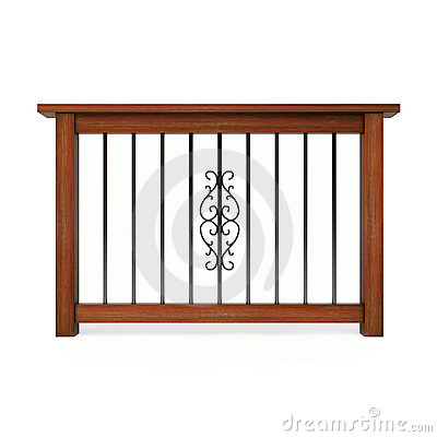 Wooden railing with metal pattern