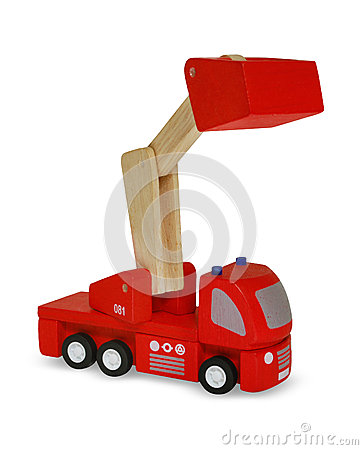 Wooden red fire truck