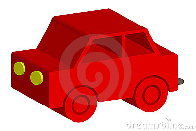Wooden red toy car