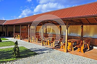 Wooden restaurant terrace