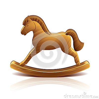 Wooden rocking horse vector illustration