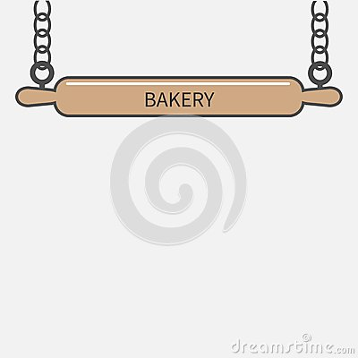 Free Wooden Rolling Pin Plunger Hanging On Chain. Bakery Signboard Flat Design Royalty Free Stock Photography - 50449177
