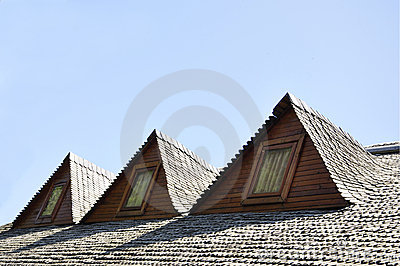 Wooden roof dormers traditional Romanian