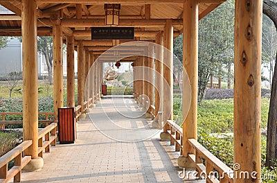 Wooden roofed corridor