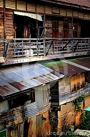 Wooden   row house, Thailand style.