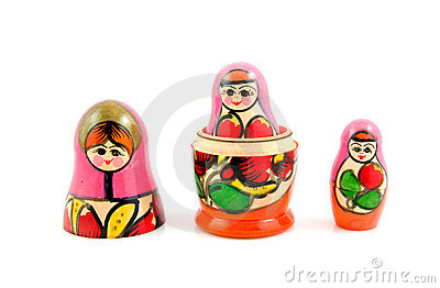 Wooden Russia matryoshka dolls