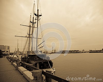 Wooden sailing ship in port