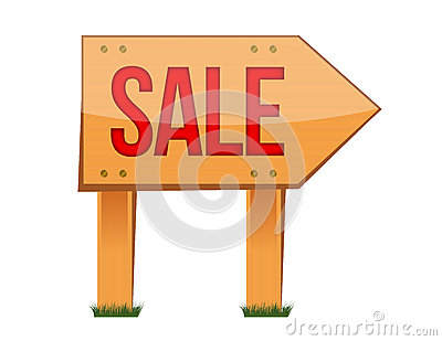 Wooden sale sign illustration