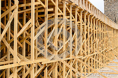 Wooden Scaffolding On Exterior Of Building Stock Photo