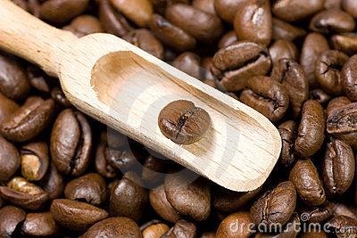 Wooden scoop with a coffee bean