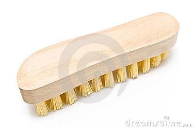 Wooden scrub brush with yellow bristles