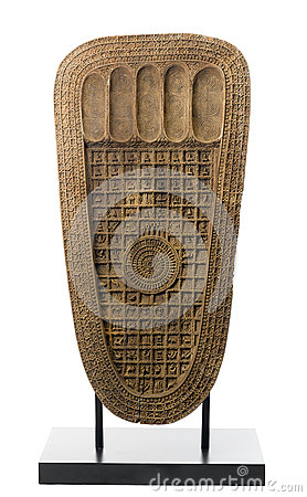 The wooden sculpture of the buddha s footprint
