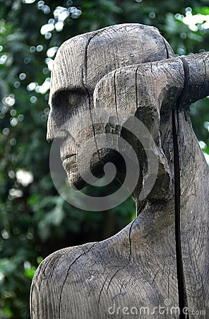 Wooden sculpture composition by E. Chubarov Editorial Stock Image