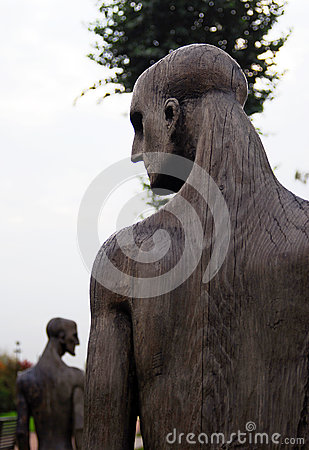 Wooden sculpture composition by E. Chubarov Editorial Photo